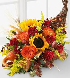 Autumn Harvest Cornucopia from Martinsville Florist, flower shop in Martinsville, NJ