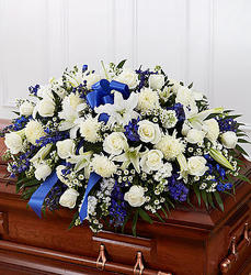 Blue and White Grace Casket Flowers from Martinsville Florist, flower shop in Martinsville, NJ