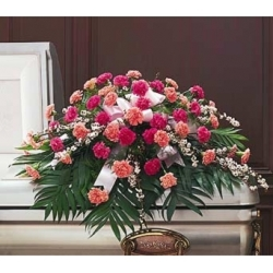 Delicate Pink Casket Spray from Martinsville Florist, flower shop in Martinsville, NJ