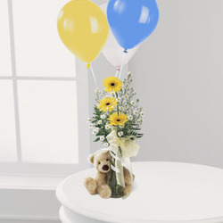 Gerbera, Teddy & Balloons from Martinsville Florist, flower shop in Martinsville, NJ