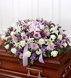 Lavender Half Casket Cover from Martinsville Florist, flower shop in Martinsville, NJ