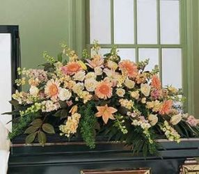 Peach Casket Spray from Martinsville Florist, flower shop in Martinsville, NJ