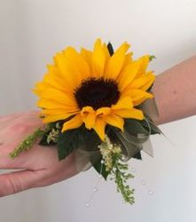 Sunflower Wristlet from Martinsville Florist, flower shop in Martinsville, NJ