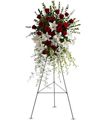 Lily and Rose Tribute Spray from Martinsville Florist, flower shop in Martinsville, NJ