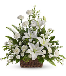 Peaceful White Lilies Basket from Martinsville Florist, flower shop in Martinsville, NJ