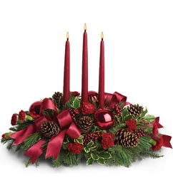 Christmas Carol Centerpiece from Martinsville Florist, flower shop in Martinsville, NJ