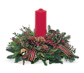 Red Pillar Centerpiece from Martinsville Florist, flower shop in Martinsville, NJ