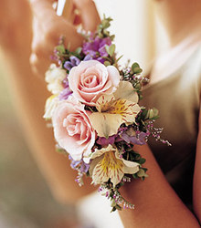 Natural Wrist Corsage from Martinsville Florist, flower shop in Martinsville, NJ